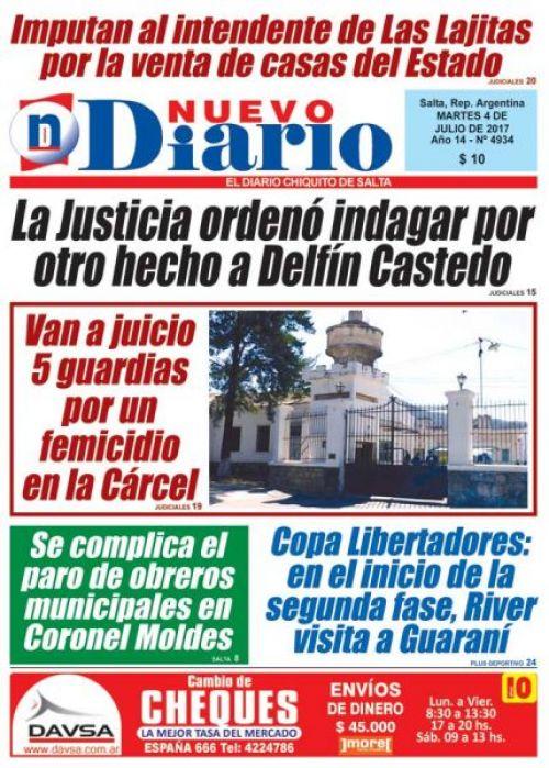 Tapa del 04/07/2017 Nuevo Diario de Salta