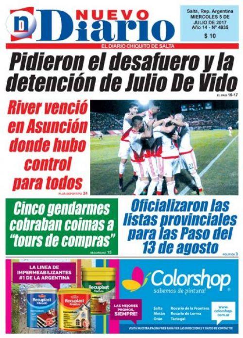 Tapa del 05/07/2017 Nuevo Diario de Salta