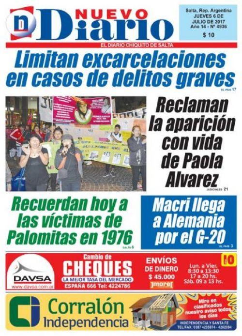 Tapa del 06/07/2017 Nuevo Diario de Salta