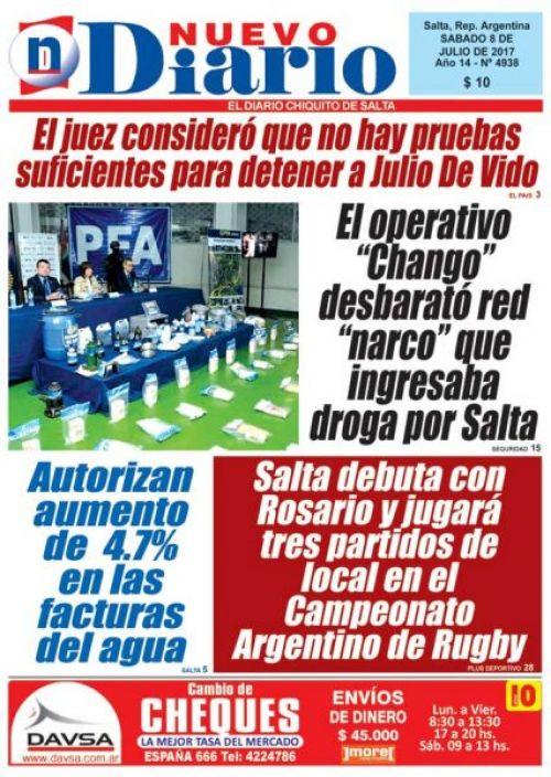 Tapa del 08/07/2017 Nuevo Diario de Salta