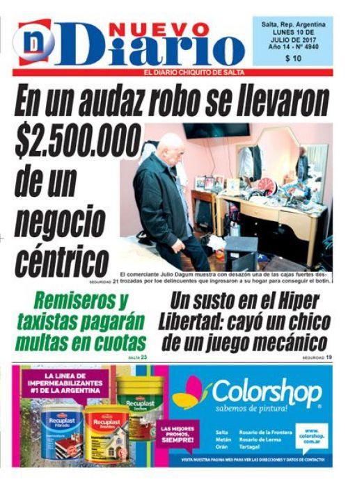 Tapa del 10/07/2017 Nuevo Diario de Salta