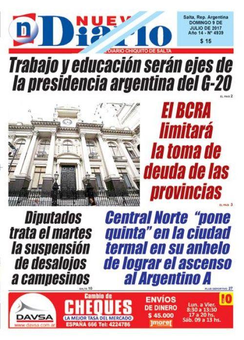 Tapa del 09/07/2017 Nuevo Diario de Salta