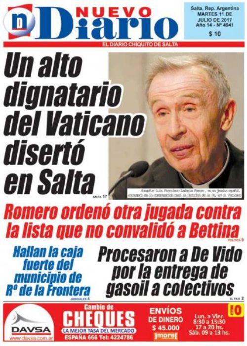 Tapa del 11/07/2017 Nuevo Diario de Salta