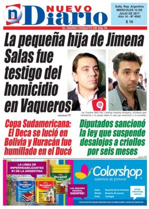 Tapa del 12/07/2017 Nuevo Diario de Salta