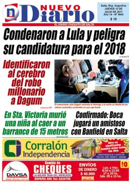 Tapa del 13/07/2017 Nuevo Diario de Salta