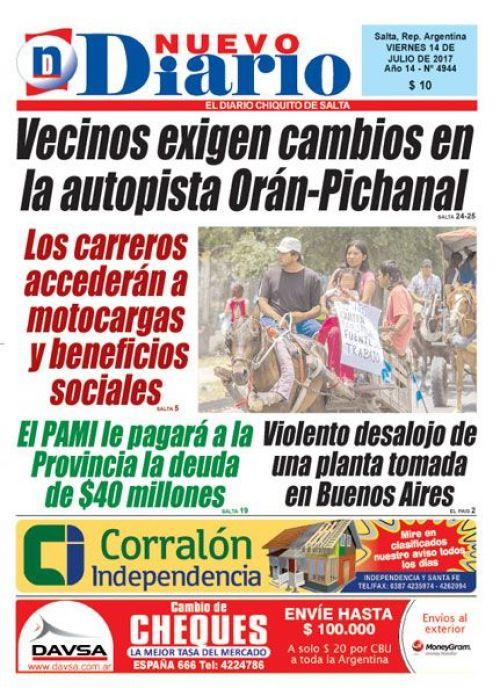Tapa del 14/07/2017 Nuevo Diario de Salta