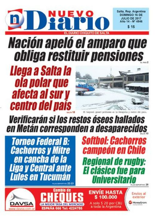 Tapa del 16/07/2017 Nuevo Diario de Salta