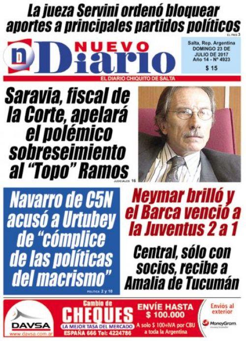 Tapa del 23/07/2017 Nuevo Diario de Salta