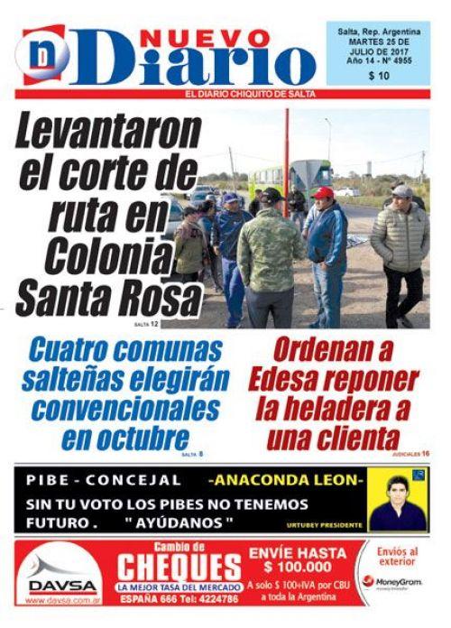 Tapa del 25/07/2017 Nuevo Diario de Salta