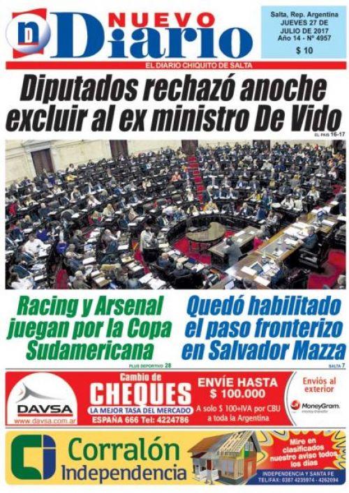 Tapa del 27/07/2017 Nuevo Diario de Salta