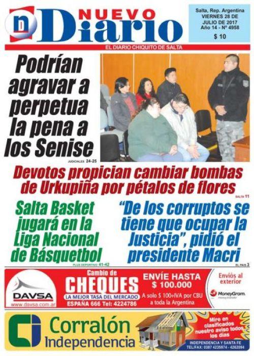Tapa del 28/07/2017 Nuevo Diario de Salta