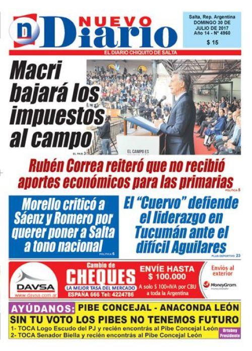 Tapa del 30/07/2017 Nuevo Diario de Salta