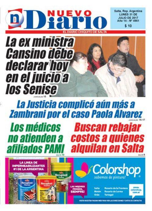 Tapa del 31/07/2017 Nuevo Diario de Salta