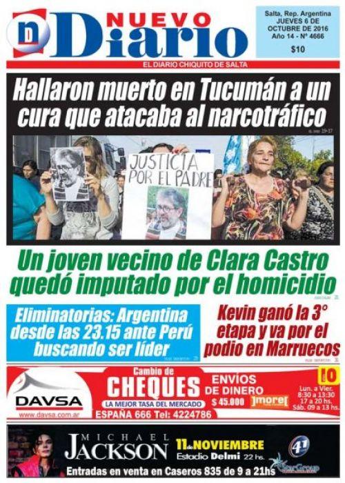 Tapa del 06/10/2016 Nuevo Diario de Salta