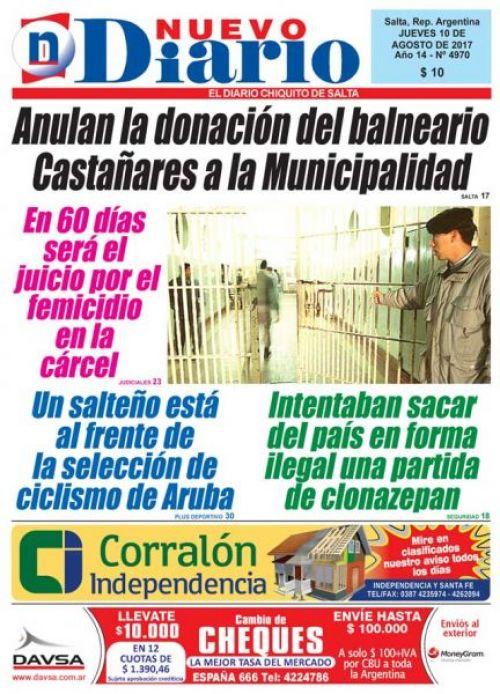Tapa del 10/08/2017 Nuevo Diario de Salta