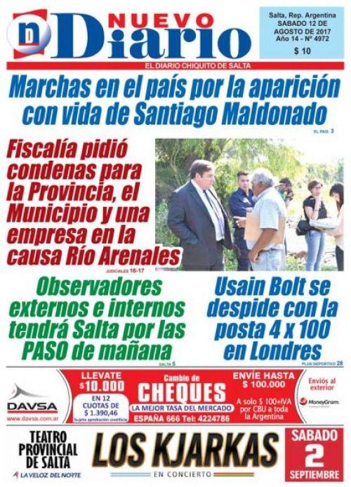 Tapa del 12/08/2017 Nuevo Diario de Salta