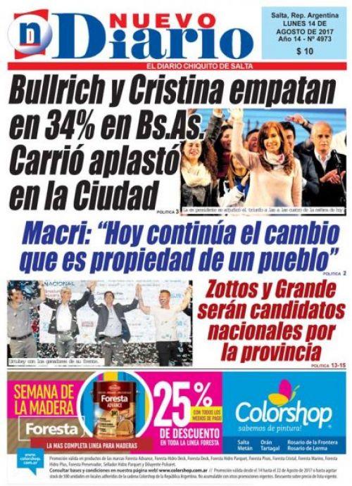 Tapa del 14/08/2017 Nuevo Diario de Salta