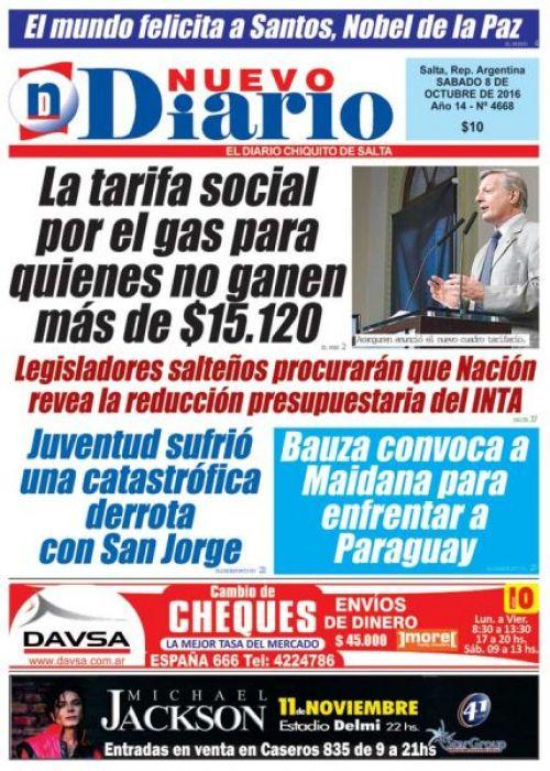 Tapa del 08/10/2016 Nuevo Diario de Salta