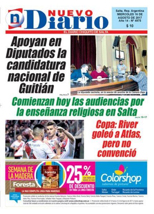 Tapa del 16/08/2017 Nuevo Diario de Salta