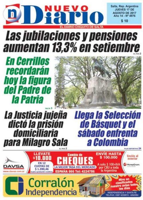 Tapa del 17/08/2017 Nuevo Diario de Salta