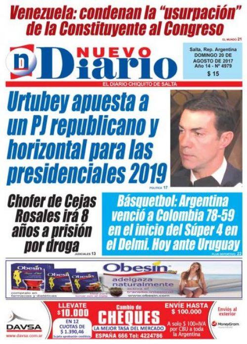 Tapa del 20/08/2017 Nuevo Diario de Salta