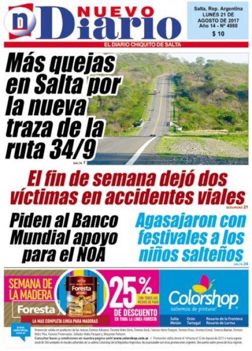 Tapa del 21/08/2017 Nuevo Diario de Salta