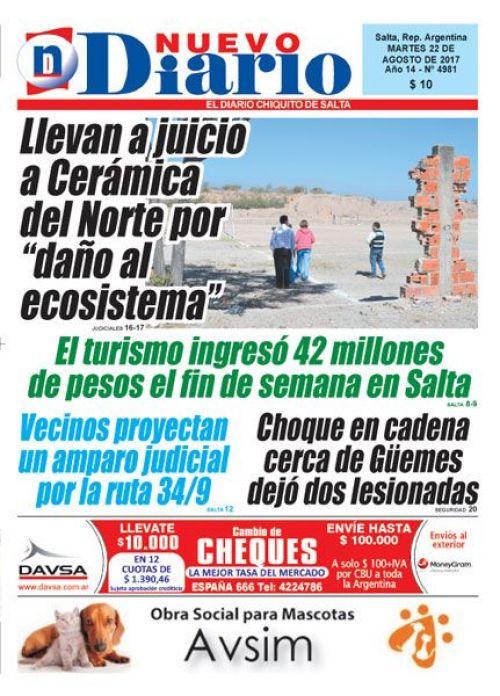 Tapa del 22/08/2017 Nuevo Diario de Salta
