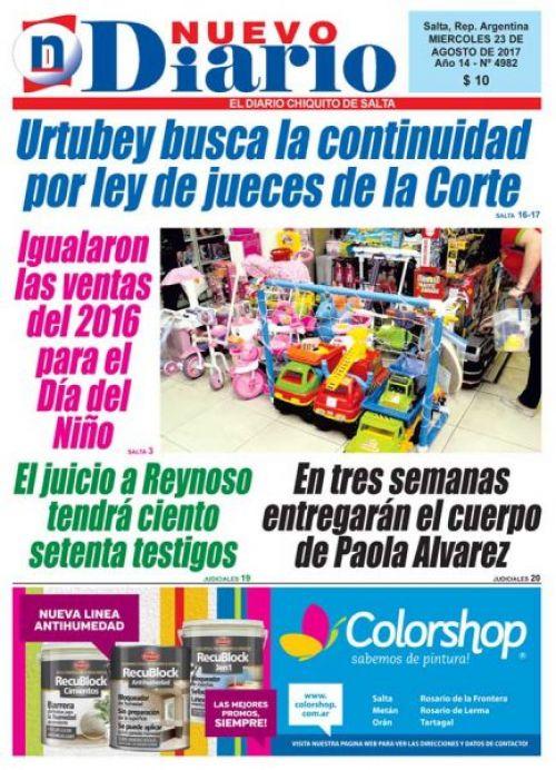 Tapa del 23/08/2017 Nuevo Diario de Salta