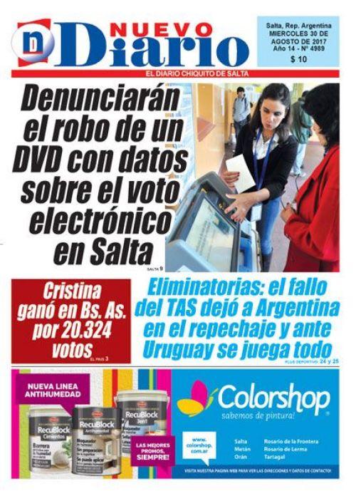 Tapa del 30/08/2017 Nuevo Diario de Salta