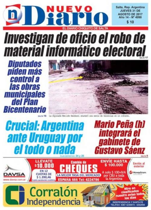 Tapa del 31/08/2017 Nuevo Diario de Salta
