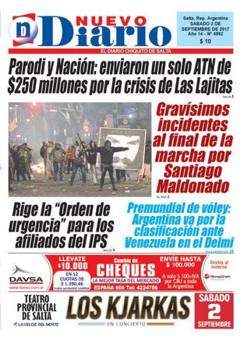 Tapa del 02/09/2017 Nuevo Diario de Salta