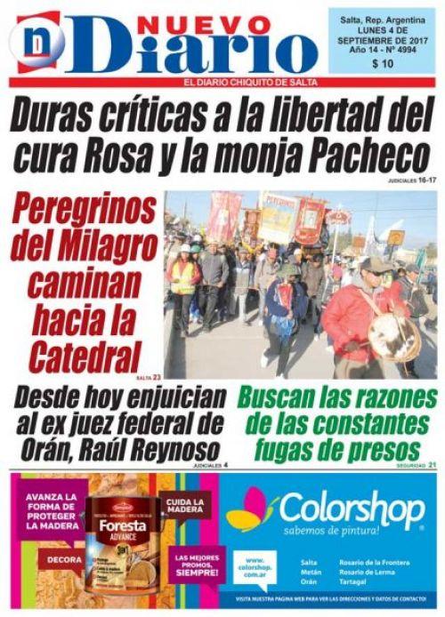 Tapa del 04/09/2017 Nuevo Diario de Salta