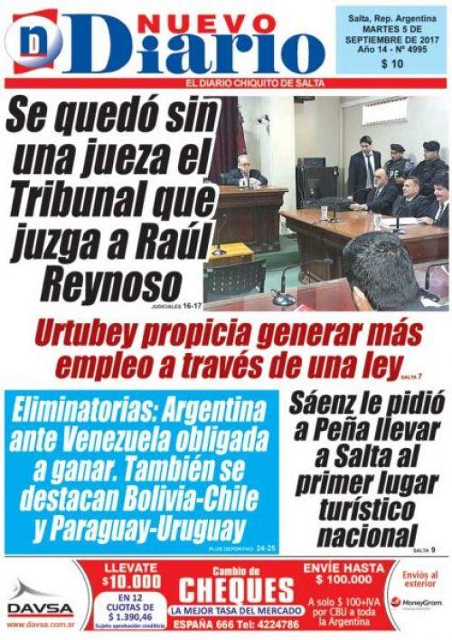 Tapa del 05/09/2017 Nuevo Diario de Salta