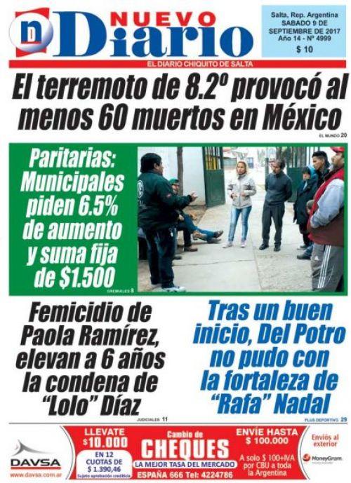 Tapa del 09/09/2017 Nuevo Diario de Salta