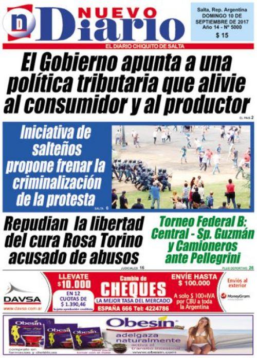 Tapa del 10/09/2017 Nuevo Diario de Salta