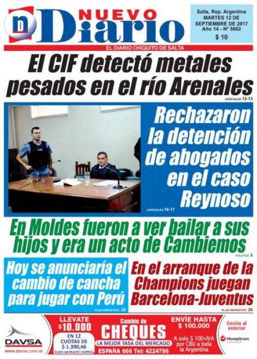 Tapa del 12/09/2017 Nuevo Diario de Salta