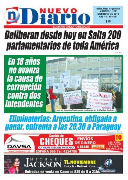 Tapa del 11/10/2016 Nuevo Diario de Salta
