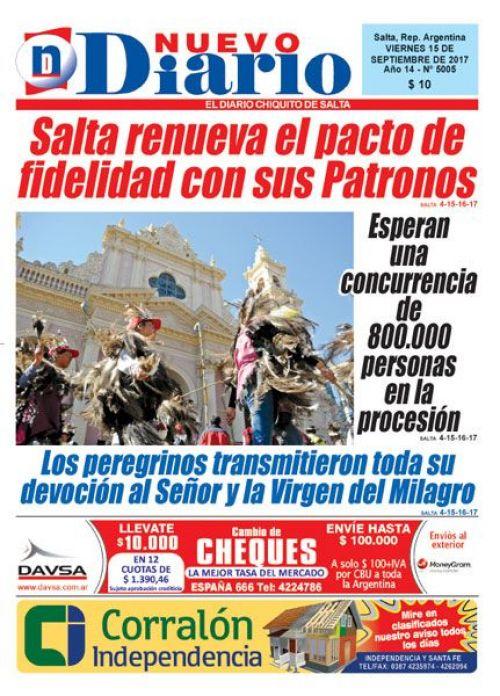 Tapa del 15/09/2017 Nuevo Diario de Salta