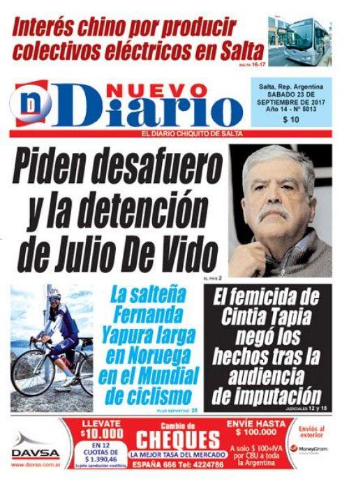 Tapa del 23/09/2017 Nuevo Diario de Salta