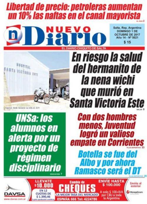Tapa del 01/10/2017 Nuevo Diario de Salta