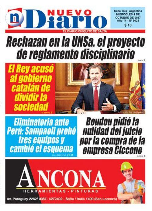 Tapa del 04/10/2017 Nuevo Diario de Salta