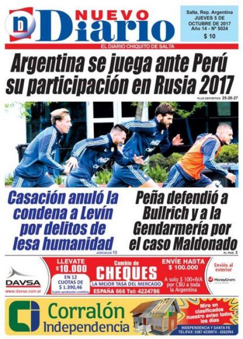 Tapa del 05/10/2017 Nuevo Diario de Salta