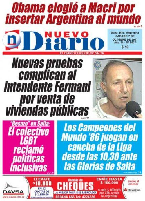 Tapa del 07/10/2017 Nuevo Diario de Salta