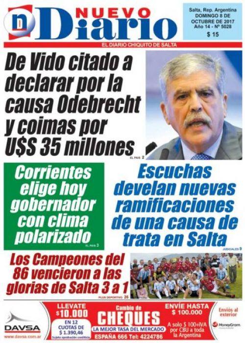 Tapa del 08/10/2017 Nuevo Diario de Salta