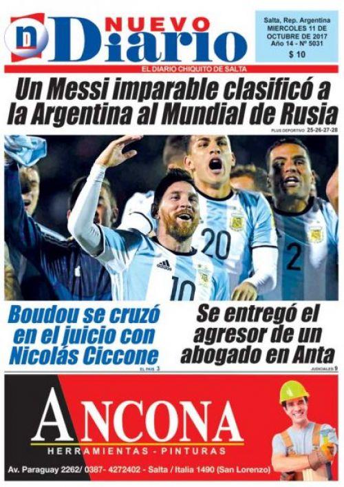 Tapa del 11/10/2017 Nuevo Diario de Salta