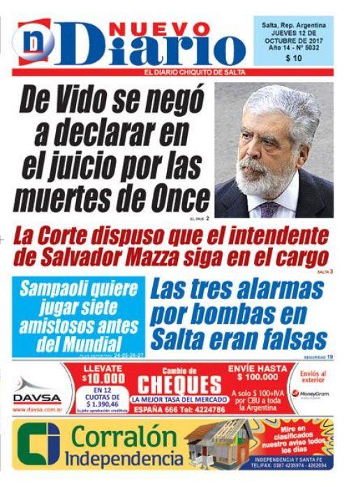 Tapa del 12/10/2017 Nuevo Diario de Salta