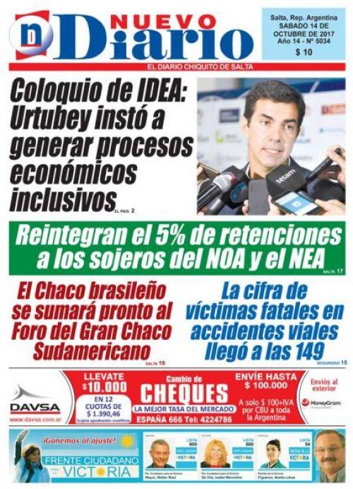 Tapa del 14/10/2017 Nuevo Diario de Salta