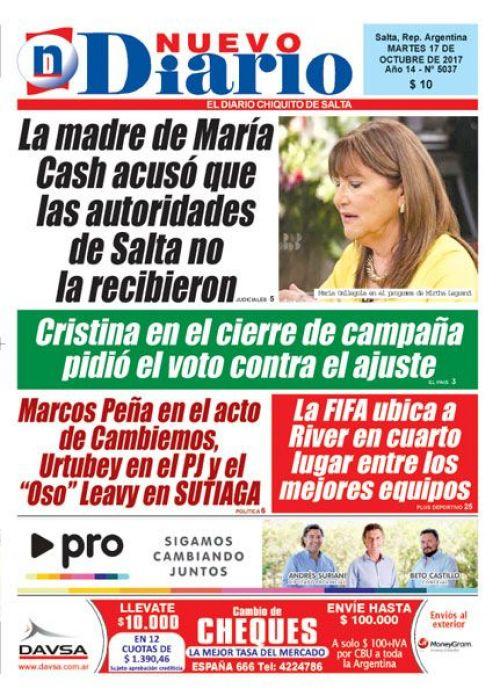 Tapa del 17/10/2017 Nuevo Diario de Salta