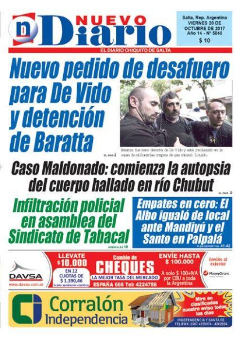 Tapa del 20/10/2017 Nuevo Diario de Salta