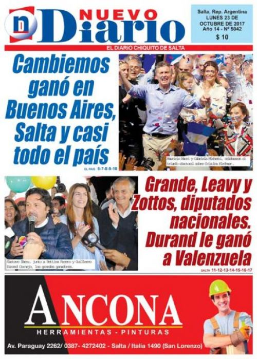 Tapa del 23/10/2017 Nuevo Diario de Salta